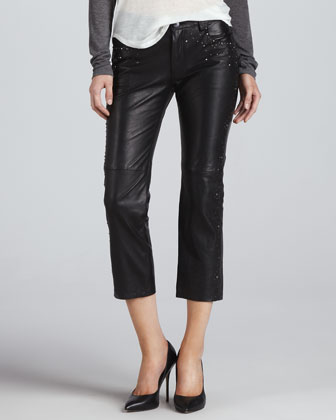Studded Cropped Leather Pants