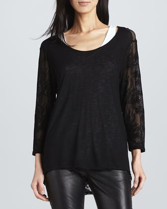 Lace-Sleeve Slub Top