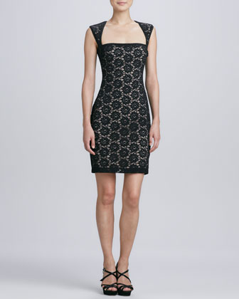 Square-Neck Sleeveless Lace Cocktail Dress