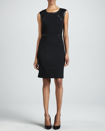 Overlook Leather-Trim Dress