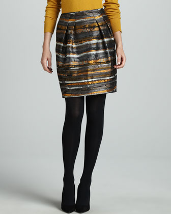 Jackie Pleated Jacquard Skirt