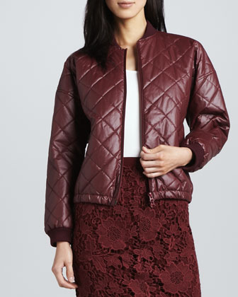 Lena Quilted Faux-Leather Jacket
