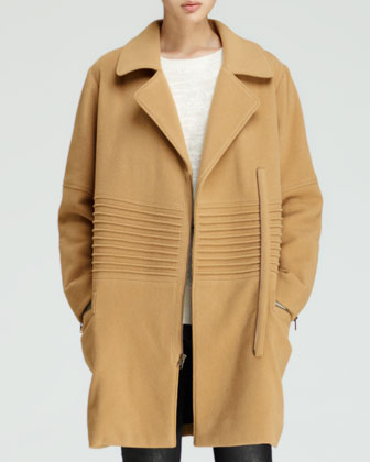 Engineered Long Oversized Moto Coat