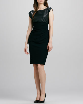 Jori Leather-Top Ponte Dress