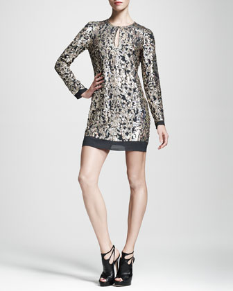 Metallic-Embroidered Shift Dress