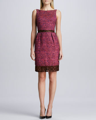 Sleeveless Bateau-Neck Tweed Dress