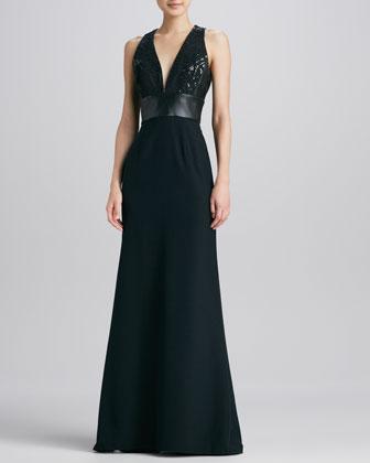 Leather-Waist Halter Gown
