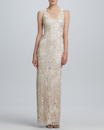 Passementerie Beaded V-Neck Gown
