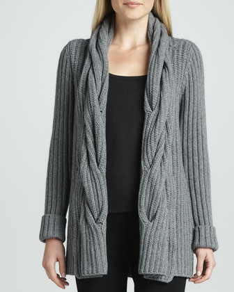 Oversized Cable Ribbed Cardigan