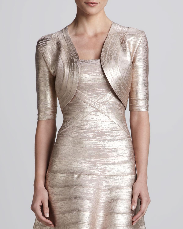 be6a35b0e0ea Womens Shimmery Bandage Knit Bolero Herve Leger Rose gold combo (MEDIUM)