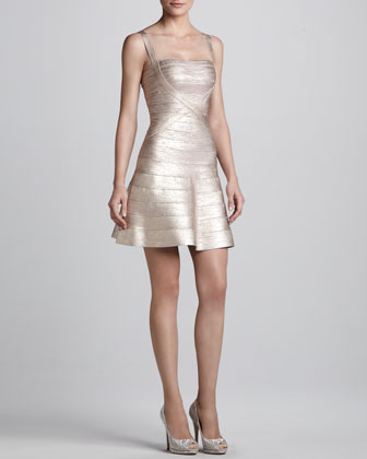 Shimmery Flared Bandage Dress