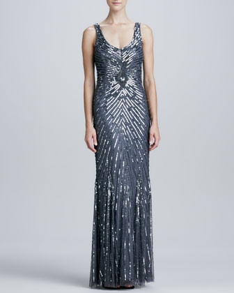 Chevron Sequined & Beaded Gown