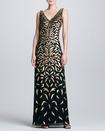 V-Neck Sequined Gown