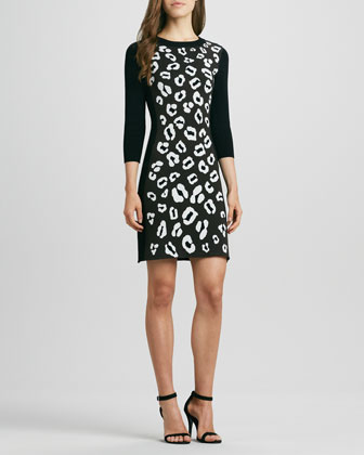 Animal-Print Raglan-Sleeve Knit Dress