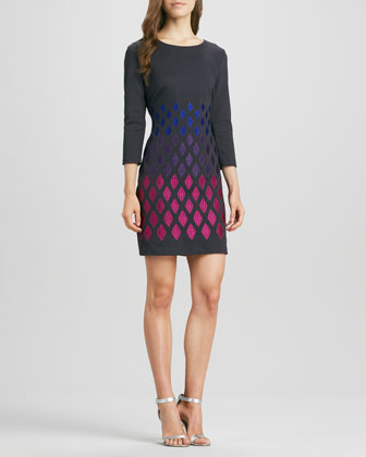 Embroidered-Skirt Knit Dress
