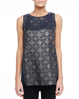 Vivian Sleeveless Metallic Medallion Top