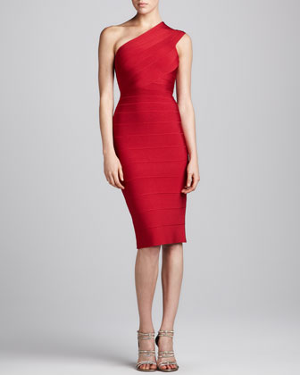 One-Shoulder Below-Knee Bandage Dress