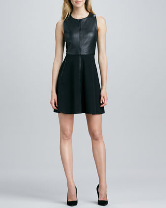 Leather and Ponte Combo Dress