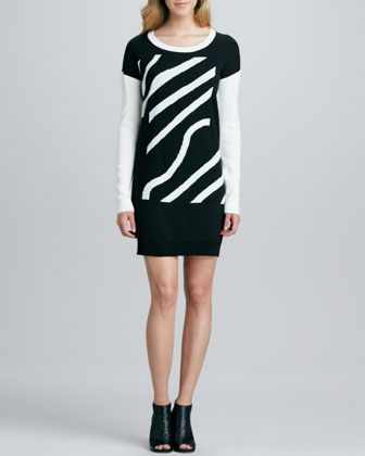Zebra-Stripe Sweater Dress