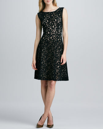 Sleeveless Lace-Overlay Flared Dress