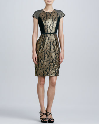 Mixed Media Brocade Cocktail Dress