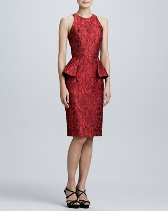 Brocade Peplum Cocktail Dress