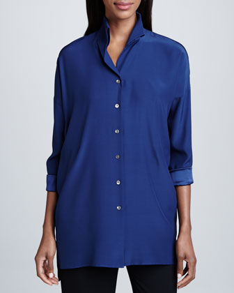 Blue Silk Selma Blouse