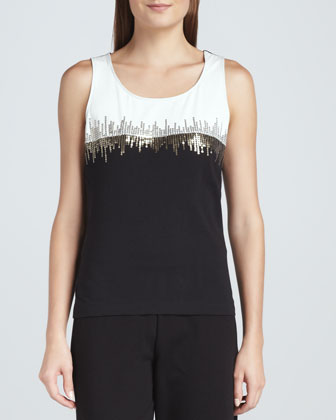 Two-Tone Beaded Sleeveless Shell, Petite