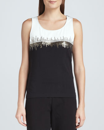 Two-Tone Beaded Sleeveless Shell