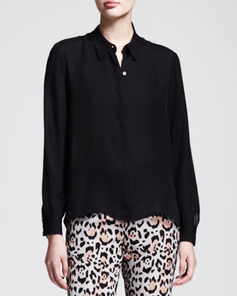 Covered-Button Georgette Blouse