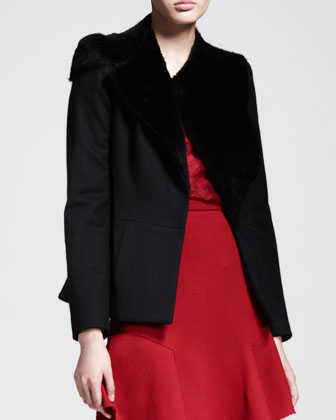 Asymmetric Shearling-Collar Jacket