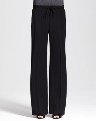 Wide-Leg Drawstring Crepe Pants