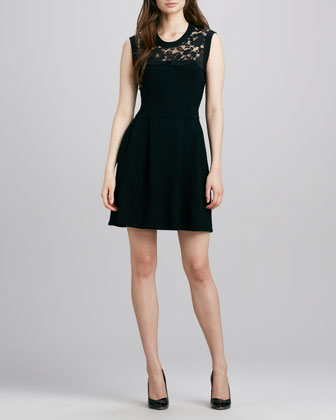 Lace-Top Knit Dress