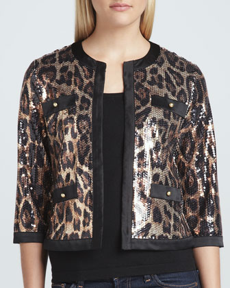 Animal-Sequined Cropped Jacket, Petite