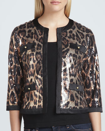 Animal-Sequined Cropped Jacket & Scoop-Neck Knit Tank, Women's
