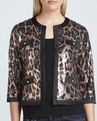 Animal-Sequined Cropped Jacket