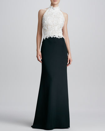 Halter-Necklace Lace/Crepe Gown