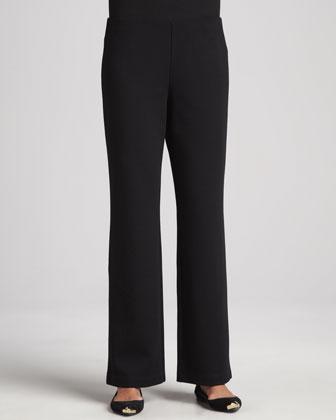 Herringbone Cascade-Front Jacket, Jersey Top & Straight-Leg Ponte Pants, Petite