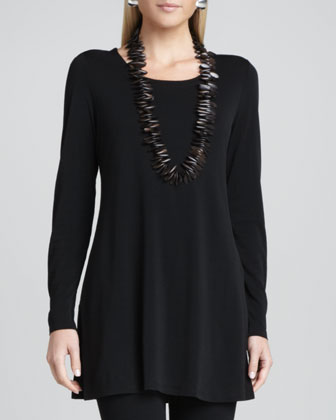Silk Jersey Long-Sleeve Tunic, Women's