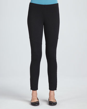 Ponte Skinny Ankle Zip Pants, Women's
