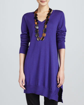 Long-Sleeve V-Neck Asymmetric Tunic