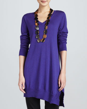 Long-Sleeve V-Neck Asymmetric Tunic, Petite