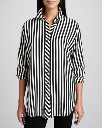 Long Striped Silk Blouse, Petite