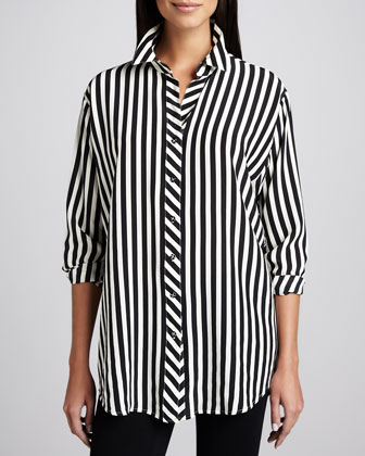 Long Striped Silk Blouse