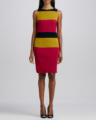 One-Button Long Topper & Sleeveless Striped Sheath Dress