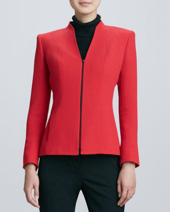 Tara Front-Zip Wool Jacket