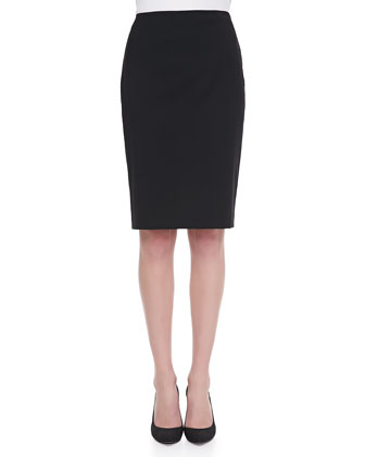 Long-Sleeve Cashmere Turtleneck & Stafani Leather-Zip Pencil Skirt