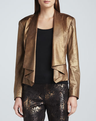 Faux-Leather Moonraker Jacket & Marissa Metallic-Print Pants