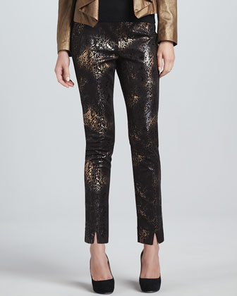 Marissa Metallic-Print Pants
