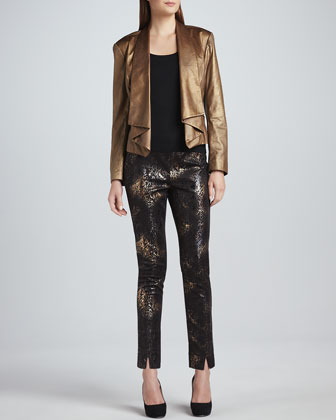 Faux-Leather Moonraker Jacket & Marissa Metallic-Print Pants, Women's